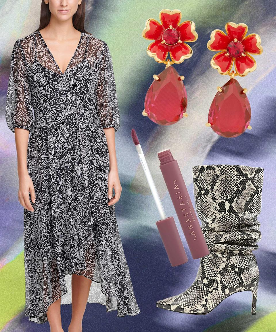 """Here's another application of the Dress-As-Nightgown Theorem. This time, we go tone-on-tone with a breezy monochromatic number and slouchy, snakeskin-print boots. For color (and video conferencing), add a matte lip and punchy red earrings.<br><br><strong>Calvin Klein</strong> Paisley-Print Chiffon Maxi Dress, $, available at <a href=""""https://go.skimresources.com/?id=30283X879131&url=https%3A%2F%2Fwww.macys.com%2Fshop%2Fproduct%2Fcalvin-klein-paisley-print-chiffon-maxi-dress%3FID%3D11337054%26CategoryID%3D5449"""" rel=""""nofollow noopener"""" target=""""_blank"""" data-ylk=""""slk:Macy's"""" class=""""link rapid-noclick-resp"""">Macy's</a><br><br><strong>BCBGeneration</strong> Marlo Slouch To The Knee Boot, $, available at <a href=""""https://go.skimresources.com/?id=30283X879131&url=https%3A%2F%2Fwww.macys.com%2Fshop%2Fproduct%2Fbcbgeneration-womens-marlo-slouch-to-the-knee-boot%3FID%3D11298669%26CategoryID%3D25122%26swatchColor%3DMulti%2520Snake"""" rel=""""nofollow noopener"""" target=""""_blank"""" data-ylk=""""slk:Macy's"""" class=""""link rapid-noclick-resp"""">Macy's</a><br><br><strong>kate spade new york</strong> Gold-Tone Stone Flower Drop Earrings, $, available at <a href=""""https://go.skimresources.com/?id=30283X879131&url=https%3A%2F%2Fwww.macys.com%2Fshop%2Fproduct%2Fkate-spade-new-york-gold-tone-stone-flower-drop-earrings%3FID%3D11342829%26CategoryID%3D78233"""" rel=""""nofollow noopener"""" target=""""_blank"""" data-ylk=""""slk:Macy's"""" class=""""link rapid-noclick-resp"""">Macy's</a><br><br><strong>Anastasia Beverly Hills</strong> Lip Stain, $, available at <a href=""""https://go.skimresources.com/?id=30283X879131&url=https%3A%2F%2Fwww.macys.com%2Fshop%2Fproduct%2Fanastasia-beverly-hills-lip-stain%3FID%3D11154128%26CategoryID%3D30077%26swatchColor%3DRosewood"""" rel=""""nofollow noopener"""" target=""""_blank"""" data-ylk=""""slk:Macy's"""" class=""""link rapid-noclick-resp"""">Macy's</a>"""