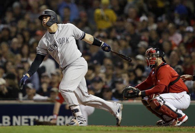 """<a class=""""link rapid-noclick-resp"""" href=""""/mlb/players/9097/"""" data-ylk=""""slk:Gary Sanchez"""">Gary Sanchez</a> should be the first catcher off fantasy draft boards — with good reason. (AP Foto/Charles Krupa)"""
