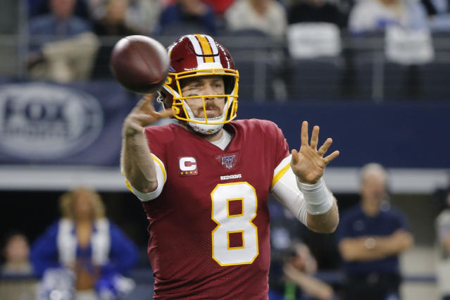 Washington Redskins quarterback Case Keenum (8) throws against the Dallas Cowboys during the first half of an NFL football game in Arlington, Texas, Sunday, Dec. 15, 2019. (AP Photo/Michael Ainsworth)
