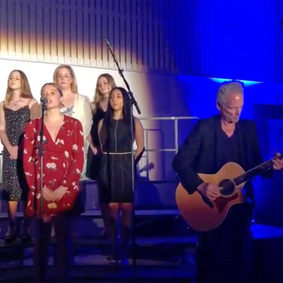 """Lindsey Buckingham made his first public appearance after <a href=""""https://people.com/music/lindsey-buckingham-emergency-open-heart-surgery-vocal-cord-damage/"""" rel=""""nofollow noopener"""" target=""""_blank"""" data-ylk=""""slk:undergoing open heart surgery"""" class=""""link rapid-noclick-resp"""">undergoing open heart surgery</a> back in February. The former guitarist for <a href=""""https://people.com/tag/fleetwood-mac/"""" rel=""""nofollow noopener"""" target=""""_blank"""" data-ylk=""""slk:Fleetwood Mac"""" class=""""link rapid-noclick-resp"""">Fleetwood Mac</a> performed the band's classic """"Landslide"""" at his daughter Leelee's high school graduation ceremony, with his wife saying it was the first time she's heard him play in months. """"Last night was epic,"""" Kristen Buckingham <a href=""""https://twitter.com/KBChrush/status/1129754664583483393"""" rel=""""nofollow noopener"""" target=""""_blank"""" data-ylk=""""slk:tweeted"""" class=""""link rapid-noclick-resp"""">tweeted</a>. """"First time I've seen Lindsey play in the last 4 mos, all the while Leelee ending her high school career. AND she sings a little 'Landslide' with her dad. I cried, I'll admit it. Never know what's ahead so enjoy the moment…"""""""