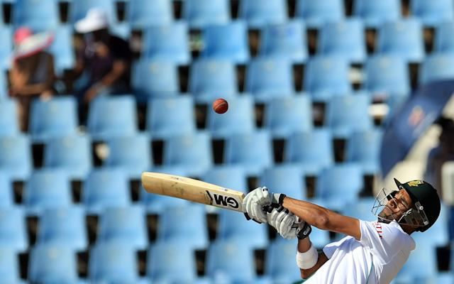 South Africa's batsman Robin Peterson, takes evasive action against a bouncer on the fourth day of their cricket test match against South Africa at Centurion Park in Pretoria, South Africa, Saturday, Feb. 15, 2014. (AP Photo/ Themba Hadebe)