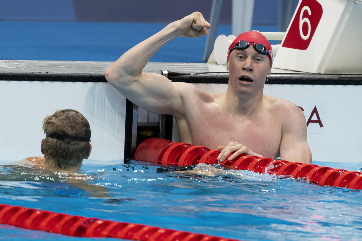 TOKYO, JAPAN - JULY 27: Tom Dean of Great Britain celebrates after winning the men 200m Freestyle final during the Tokyo 2020 Olympic Games at the Tokyo Aquatics Centre on July 27, 2021 in Tokyo, Japan (Photo by Giorgio Scala/Deepbluemedia/Insidefoto)/Sipa USA