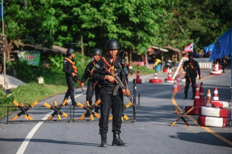 Thai soldiers man a checkpoint in the south in April: a roadside bomb on June 19, 2017, killed six soldiers