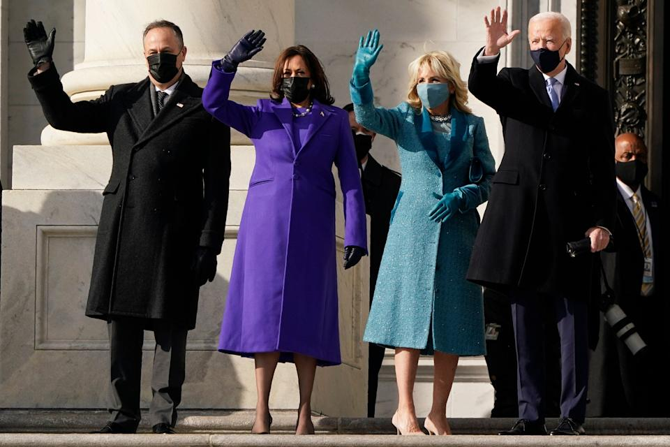 Joe Biden and his wife, Jill Biden, and Kamala Harris and her husband, Doug Emhoff, arrived at the steps of the U.S. Capitol for the start of the official inauguration ceremonies. (Photo: J. Scott Applewhite/Associated Press)