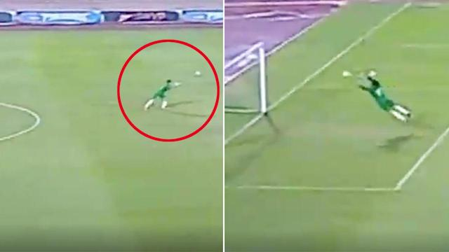 Budding goalkeepers probably shouldn't attempt this play in a match. Pic: Time Sports