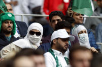 Saudi Arabia fans wait for the start of the group A match between Russia and Saudi Arabia which opens the 2018 soccer World Cup at the Luzhniki stadium in Moscow, Russia, Thursday, June 14, 2018. (AP Photo/Pavel Golovkin)