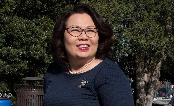 <p>Illinois Sen. Tammy Duckworth outside the US Capitol.</p> (Copyright 2020 the Associated Press. All Rights Reserved.)