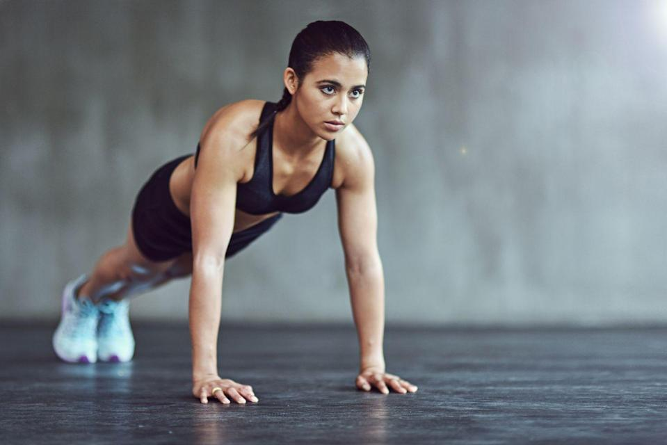 "<p>""If I'm low on time, I'm all about exercises that target the entire body like this one,"" Dolke says. She swears by this plank variation that incorporates shoulder taps for an added stability challenge and chest engagement.</p><p><strong>How to: </strong>Start in a plank position with hands directly under your shoulders, and core and glutes engaged. Tap your left shoulder with your right hand, then return to plank position and repeat on the opposite side. Continue alternating sides, making sure to keep your body is straight (avoid twisting your pelvis). </p>"