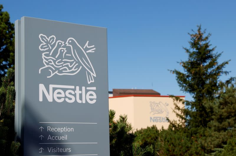 FILE PHOTO: Logo is pictured on the Nestle research center in Lausanne