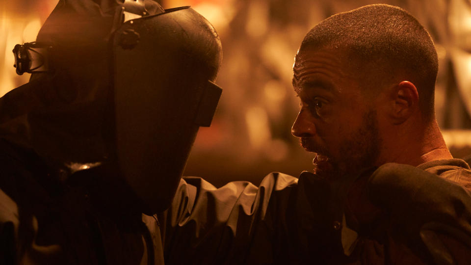 Jesse Williams faces off with the killer in 'Random Acts of Violence'. (Credit: Shudder)