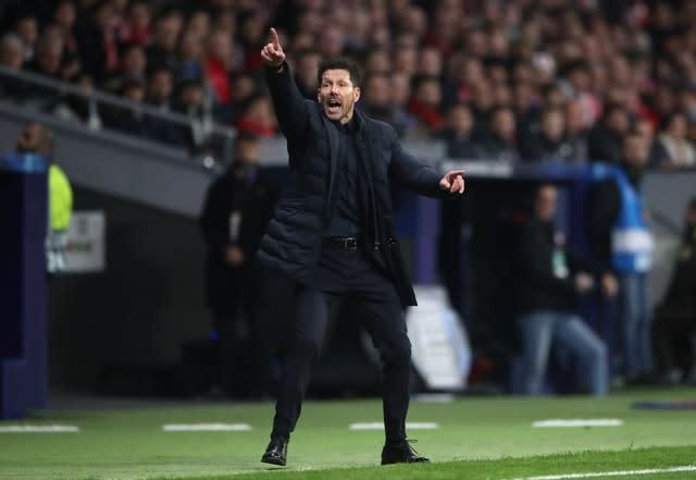 Atletico Madrid manager Diego Simeone was animated on the touchline in the first leg (Nick Potts/PA)