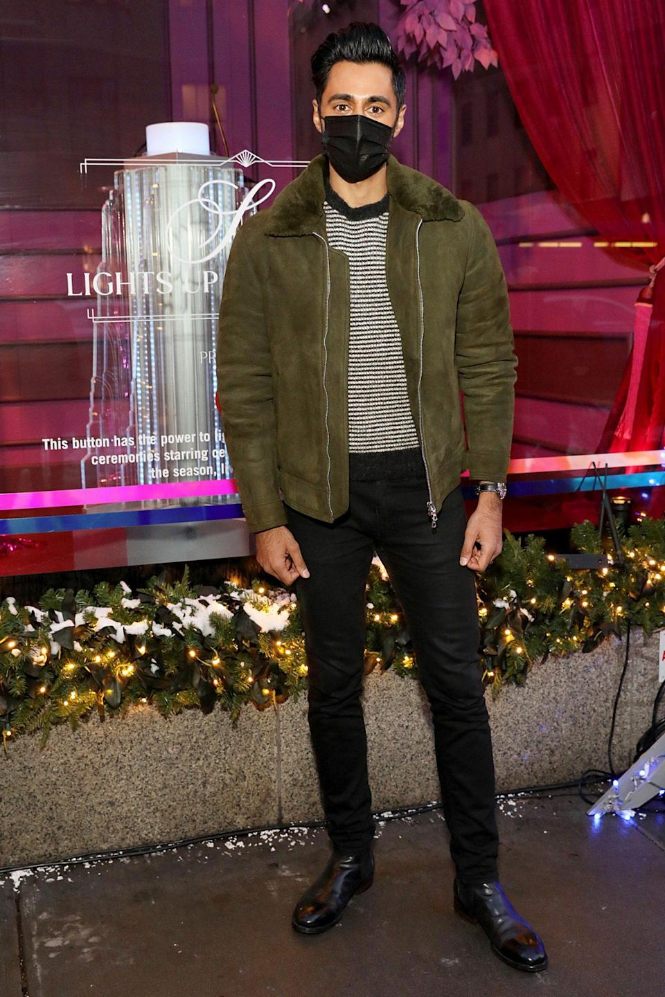 <p>Hasan Minhaj arrives at The Holidays at Saks Lights Up Fifth Avenue Ceremony on Friday in N.Y.C.</p>