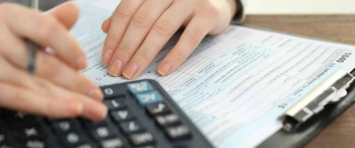 Female hand holding a pen and using calculator while filling in the individual income tax return, close up