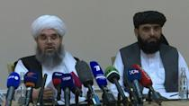 """At a press conference in Moscow, Taliban members, who refer to themselves as the """"Islamic Emirates of Afghanistan"""", say they control 85 percent of Afghanistan's territory"""