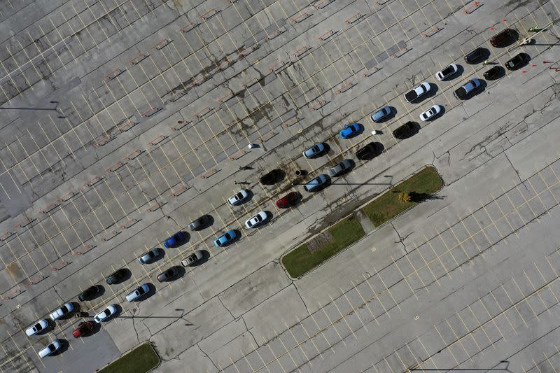 Aerial view of drive-thru COVID-19 testing site at Miller Park