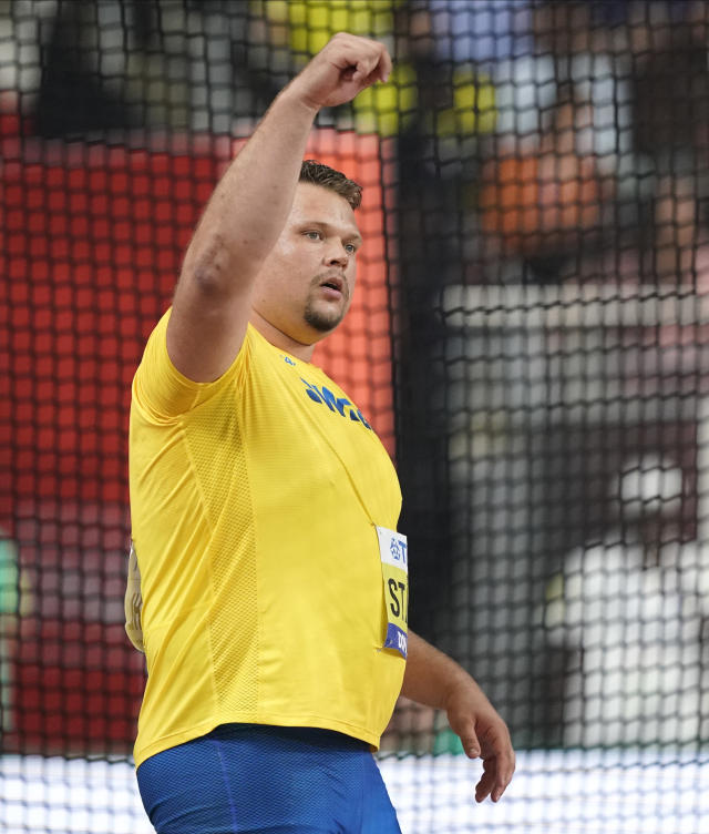 Daniel Ståhl, of Sweden, reacts after winning the gold medal in the men's discus throw final at the World Athletics Championships in Doha, Qatar, Monday, Sept. 30, 2019. (AP Photo/David J. Phillip)