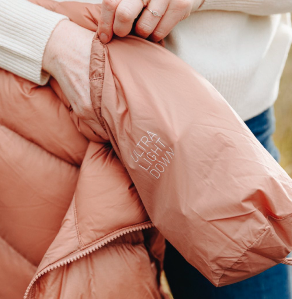puffer jacket with folding bag
