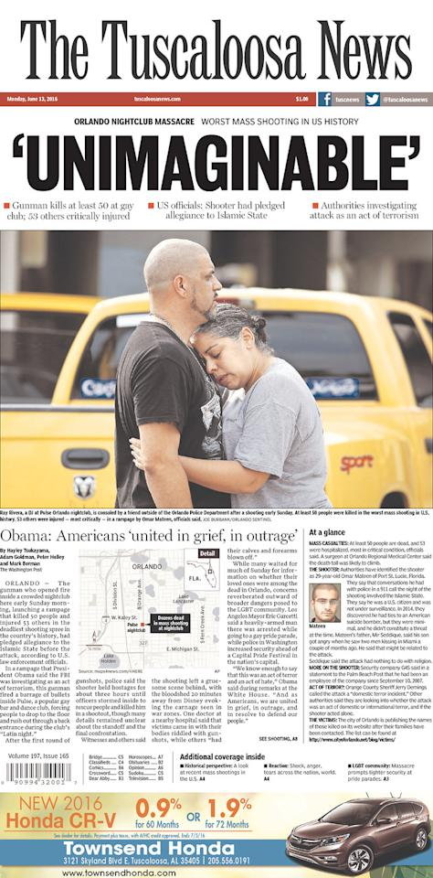 <p>THE TUSCALOOSA NEWS<br /> Published in Tuscaloosa, Ala. USA. (newseum.org) </p>