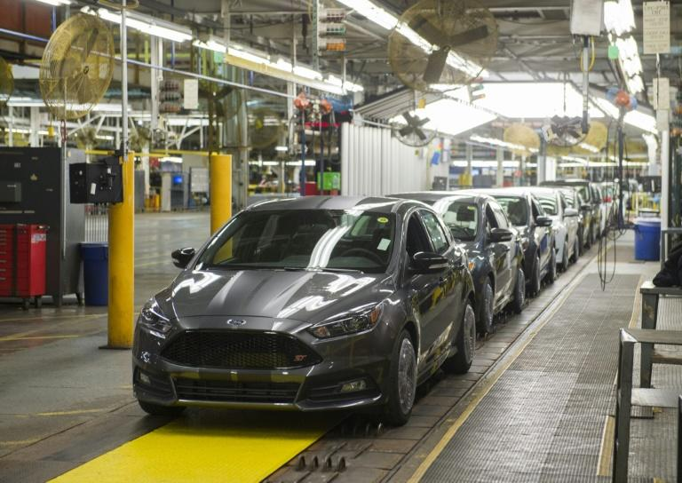 A Ford assembly line in Wayne, Michigan