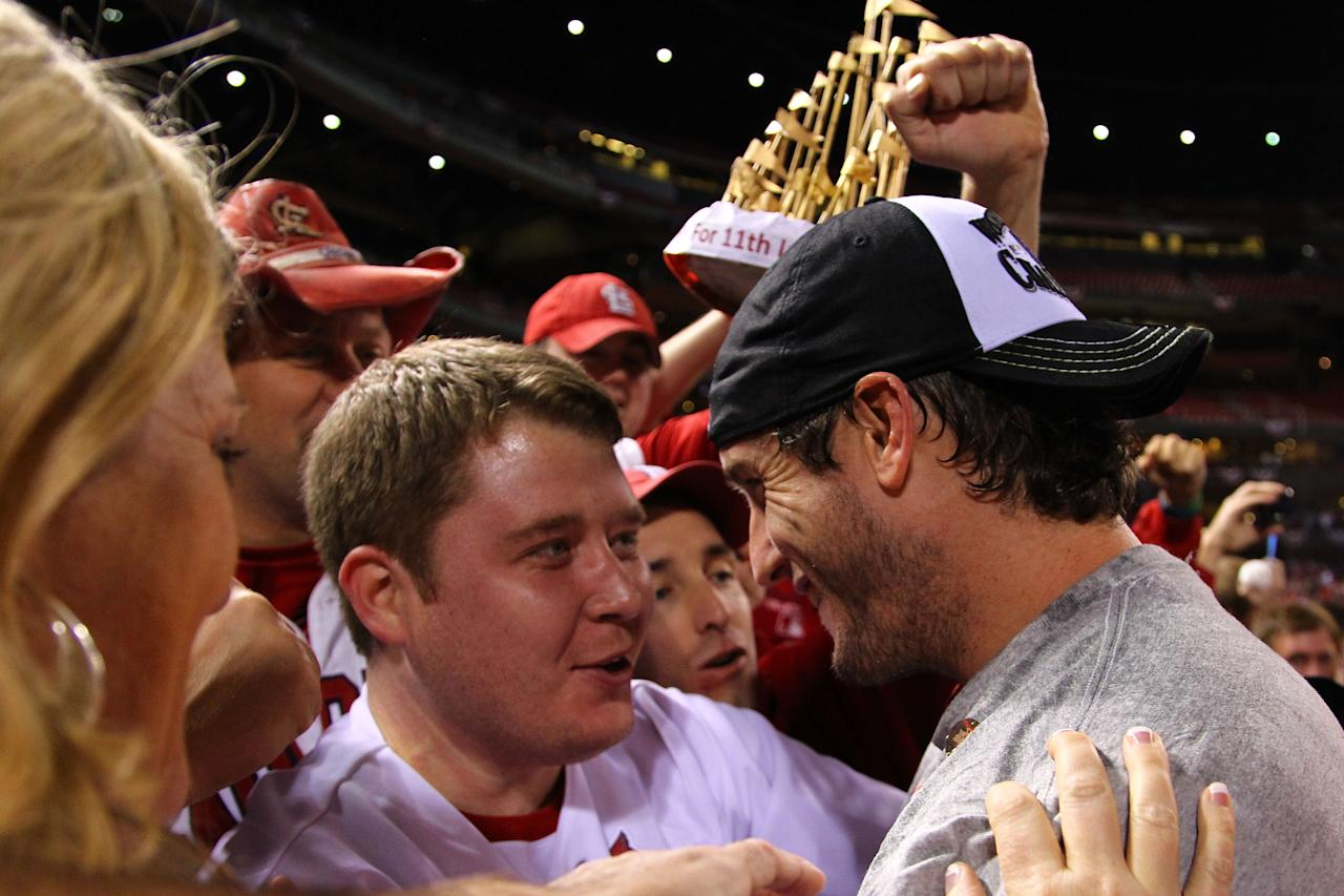 ST LOUIS, MO - OCTOBER 28:  World Series MVP David Freese #23 of the St. Louis Cardinals celebrates after defeating the Texas Rangers 6-2 to win Game Seven of the MLB World Series at Busch Stadium on October 28, 2011 in St Louis, Missouri.  (Photo by Dilip Vishwanat/Getty Images)
