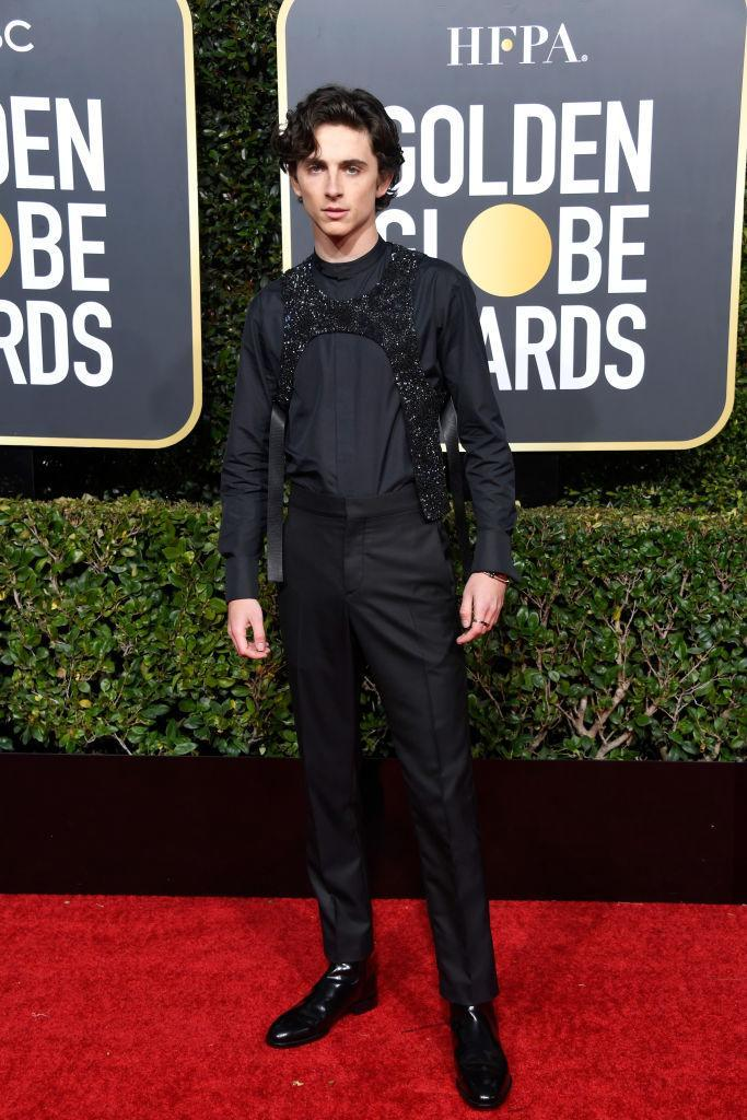 <p>Nominated <em>Beautiful Boy</em> actor Timothée Chalamet attends the 76th Annual Golden Globe Awards at the Beverly Hilton Hotel in Beverly Hills, Calif., on Jan. 6, 2019. (Photo: Getty Images) </p>