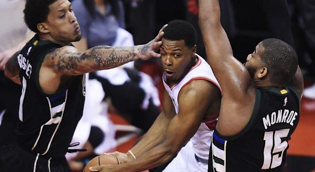 Toronto Raptors guard Kyle Lowry struggled to find room to operate in Game 1 vs. the Milwaukee Bucks. (Nathan Denette/The Canadian Press via AP)