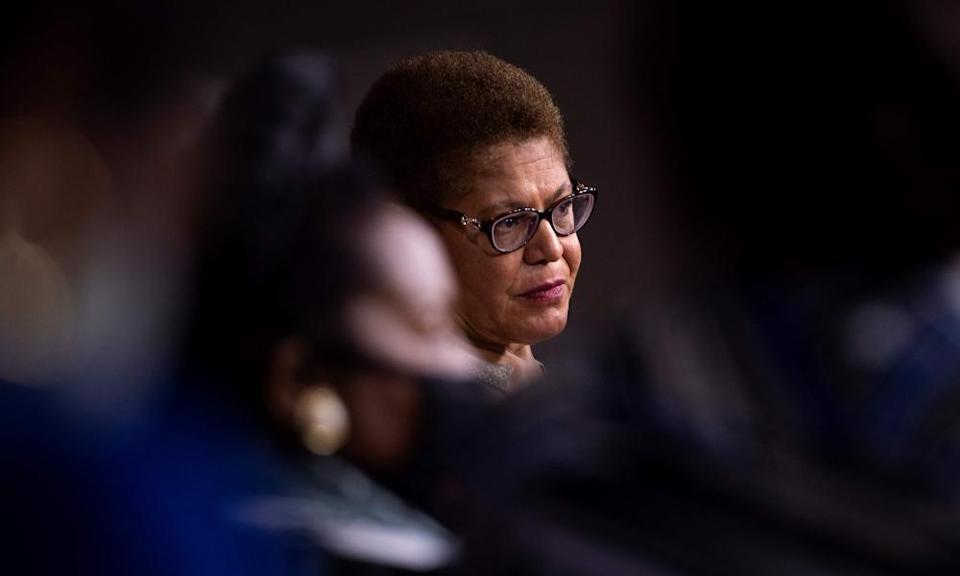 """<span class=""""element-image__caption"""">Karen Bass at a press conference on Capitol Hill about legislation to address systemic racism on 1 July 2020.</span> <span class=""""element-image__credit"""">Photograph: Brendan Smialowski/AFP/Getty Images</span>"""