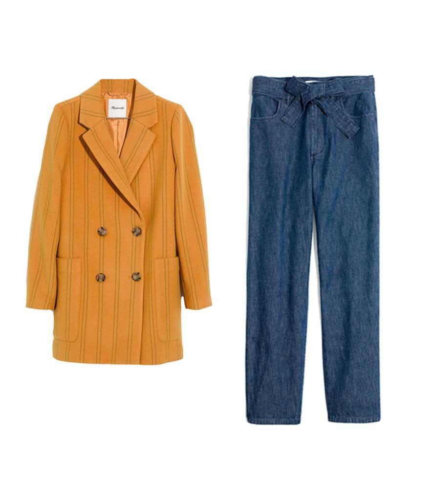"""<p>Madewell Hollis Double-Breasted Coat in Stripe, $228, <a href=""""https://fave.co/2yhQ3oF"""" rel=""""nofollow noopener"""" target=""""_blank"""" data-ylk=""""slk:madewell.com"""" class=""""link rapid-noclick-resp"""">madewell.com</a><br>Madewell Denim Tie-Waist Tapered Pants, $118, <a href=""""https://fave.co/2zOT8Pe"""" rel=""""nofollow noopener"""" target=""""_blank"""" data-ylk=""""slk:madewell.com"""" class=""""link rapid-noclick-resp"""">madewell.com</a> </p>"""