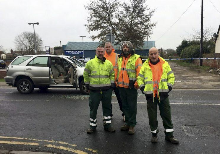 A team of hero binmen came to the rescue to help stop an attempted carjacking.