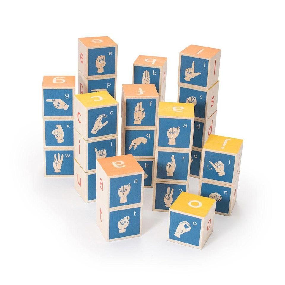 """<p><strong>Uncle Goose American Sign Language Blocks</strong></p><p>uncommongoods.com</p><p><strong>$40.00</strong></p><p><a href=""""https://go.redirectingat.com?id=74968X1596630&url=https%3A%2F%2Fwww.uncommongoods.com%2Fproduct%2Famerican-sign-language-blocks&sref=https%3A%2F%2Fwww.bestproducts.com%2Fparenting%2Fg32781476%2Fdiverse-multicultural-toys-for-kids%2F"""" rel=""""nofollow noopener"""" target=""""_blank"""" data-ylk=""""slk:Shop Now"""" class=""""link rapid-noclick-resp"""">Shop Now</a></p><p>Approximately 600,000 Americans (including Best Products' associate parenting editor) are Deaf. These blocks featuring American Sign Language are a fun way to introduce the signing alphabet to your children. </p>"""
