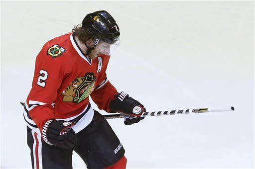 Chicago Blackhawks defenseman Duncan Keith celebrates his goal against the Los Angeles Kings during the first period in Game 5 of the NHL hockey Stanley Cup playoffs Western Conference finals, Saturday, June 8, 2013, in Chicago. (AP Photo/Charles Rex Arbogast)