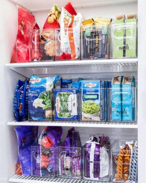 PHOTO: Clear organization bins help keep frozen foods contained in a freezer. (Brid's Eye)