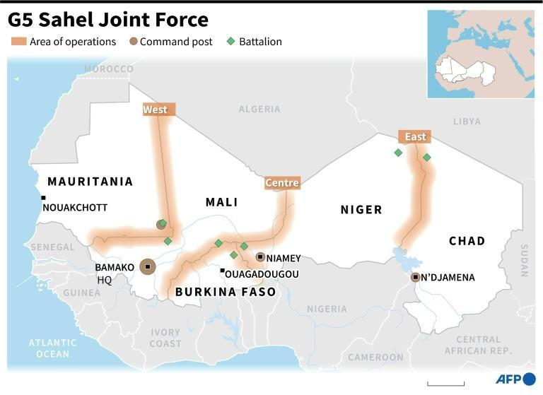 Map locating command posts and deployments by the G5 Sahel Joint Force