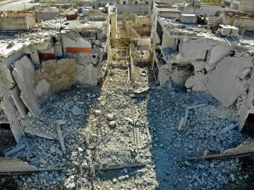 A building destroyed in a recent reported air strike on a residential district of Maaret al-Numan
