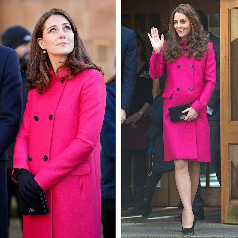<p>Kate has worn this hot pink Mulberry coat three times, most recently on a visit to Coventry Cathedral while pregnant with her third child. In 2015, pregnant with Charlotte, the Duchess wore the coat with the same Mulberry clutch and her hair loose and wavy.</p>