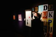 Preparations take place at Bonhams auction house ahead of their British Cool art sale, in London