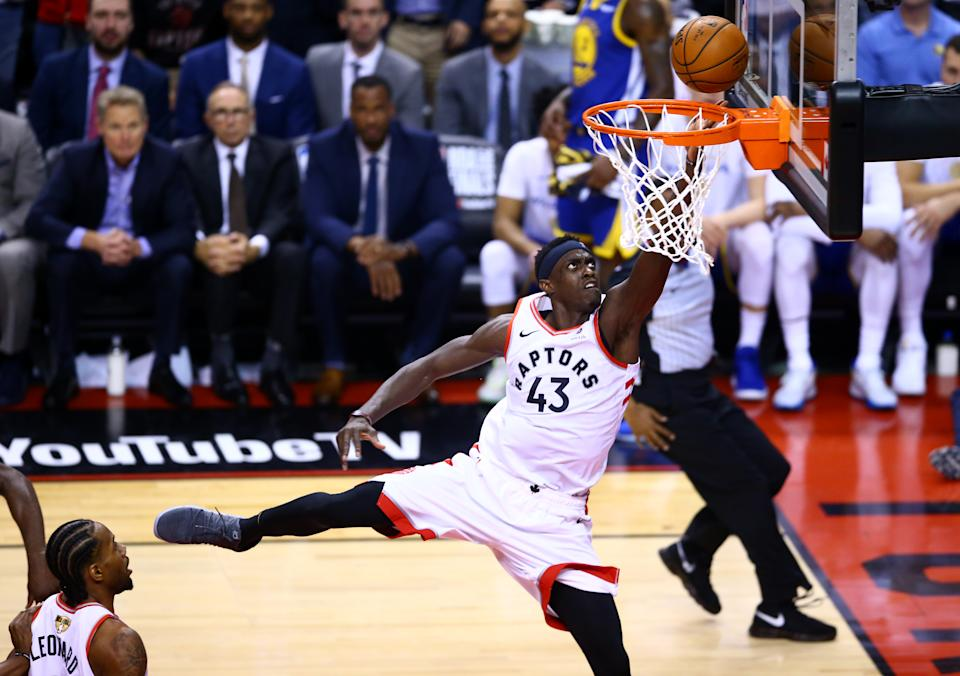 Pascal Siakam #43 of the Toronto Raptors attempts a lay up against the Golden State Warriors in the third quarter during Game One of the 2019 NBA Finals at Scotiabank Arena on May 30, 2019 in Toronto, Canada. (Photo by Vaughn Ridley/Getty Images)