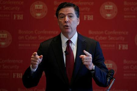 FBI Director James Comey speaks at the Boston Conference on Cyber Security at Boston College in Boston