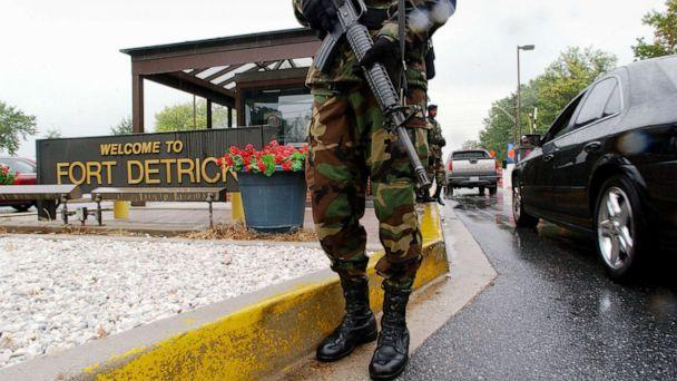 PHOTO: Military Personnel stand guard outside Fort Detrick, in Frederick, Md., Sept. 26, 2002. (Olivier Douliery/AFP via Getty Images, FILE)