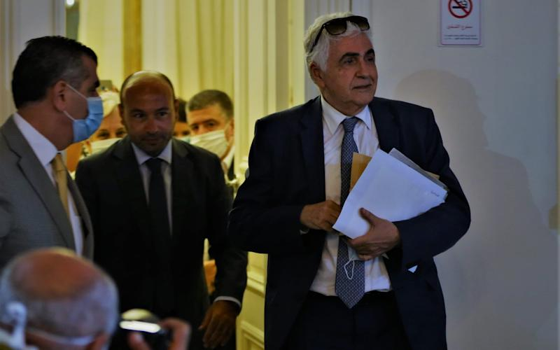 Former Lebanese Foreign Minister Nassif Hitti after submitting his resignation to Prime Minister Hassan Diab in Beirut - EPA