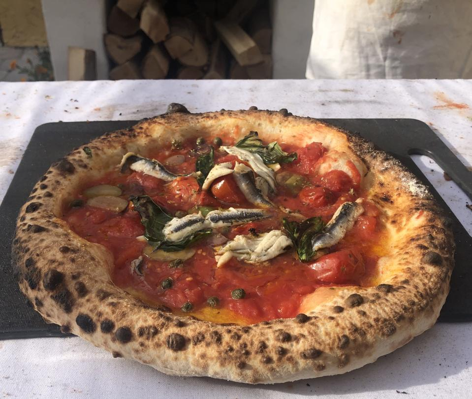 Pizza from Joe and Angela Cicala's backyard oven. (Credit: Joe and Angela Cicala)