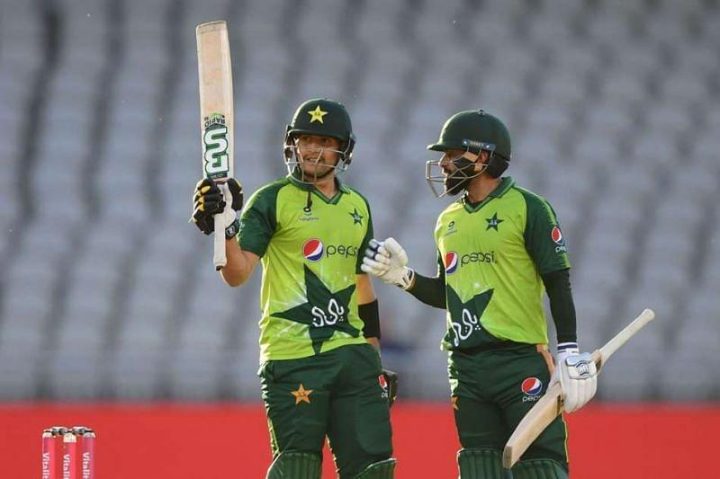 Mohammad Hafeez congratulates Haider Ali on a debut fifty against England.