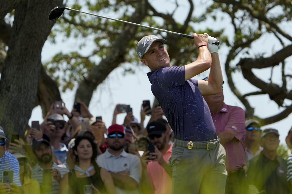 Justin Thomas watches his tee shot on the seventh hole during a practice round at the PGA Championship golf tournament on the Ocean Course Tuesday, May 18, 2021, in Kiawah Island, S.C. (AP Photo/David J. Phillip)