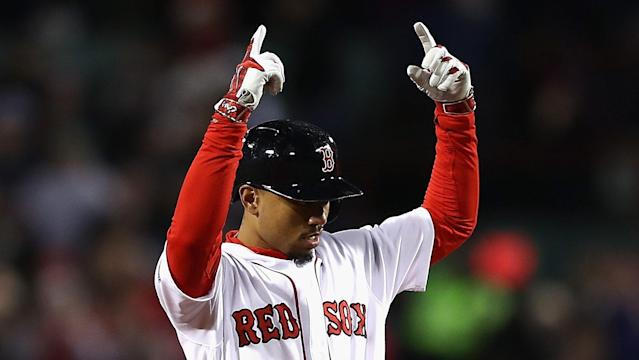 "<a class=""link rapid-noclick-resp"" href=""/mlb/players/9552/"" data-ylk=""slk:Mookie Betts"">Mookie Betts</a> is 25 and coming off back-to-back 20/20 seasons, while scoring a zillion runs. He's an easy first-rounder."