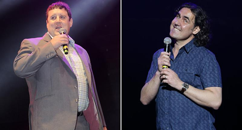 North-south divide: Peter Kay, left is from Bolton, while Micky Flanagan is a Londoner (Rex/PA)
