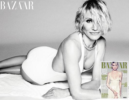 Cameron Diaz sizzles in the latest issue of Harper's Bazaar UK. She poses soaking wet in a beach coverup on the cover of the magazine and strips down to a swimsuit in the photo spread