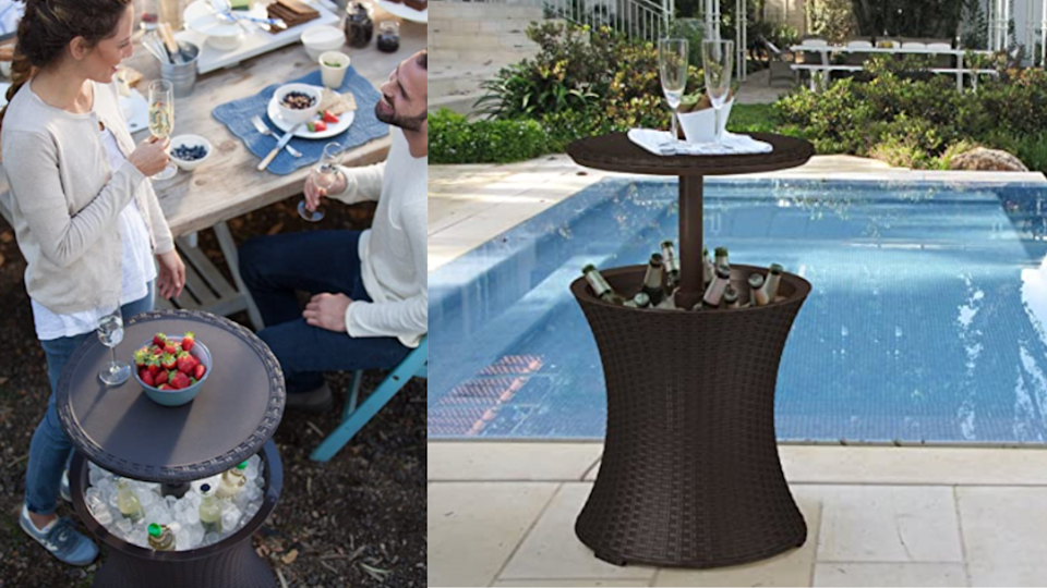 This side table pulls double duty: You can use it as a convenient spot to rest drinks poolside, or lift up the top and fill it with ice when guests are over.