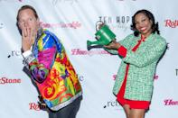 <p>Christal Young and Carson Kressley goof off on the red carpet as Rebelle celebrates the 50th anniversary of 420 and the legalization of marijuana at Ten Hope in New York City on Tuesday.</p>