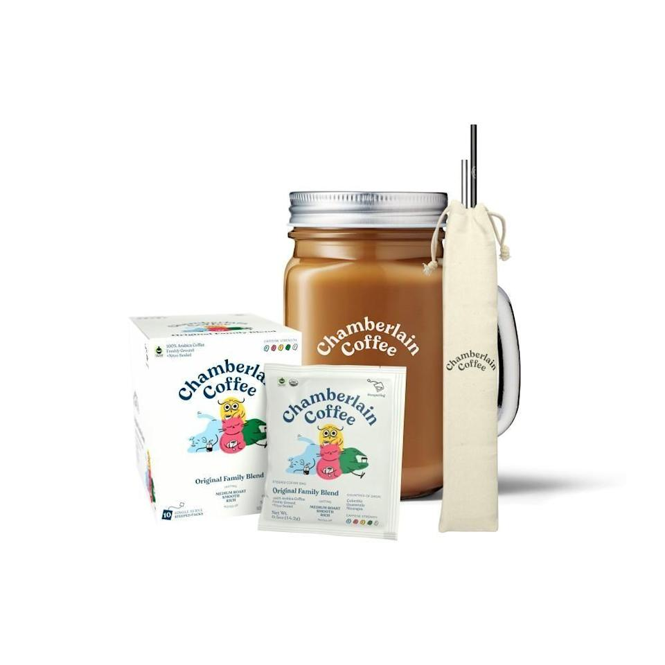 """<p><strong>Chamberlain Coffee</strong></p><p><strong>$48.00</strong></p><p><a href=""""https://go.redirectingat.com?id=74968X1596630&url=https%3A%2F%2Fchamberlaincoffee.com%2Fproducts%2Fcold-brew-starter-pack&sref=https%3A%2F%2Fwww.cosmopolitan.com%2Fstyle-beauty%2Ffashion%2Fg8274845%2Fbest-gifts-teenage-girls%2F"""" rel=""""nofollow noopener"""" target=""""_blank"""" data-ylk=""""slk:Shop Now"""" class=""""link rapid-noclick-resp"""">Shop Now</a></p><p>All Emma Chamberlain fans will absolutely freak over this cold brew gift box from the influencer's brand.</p>"""