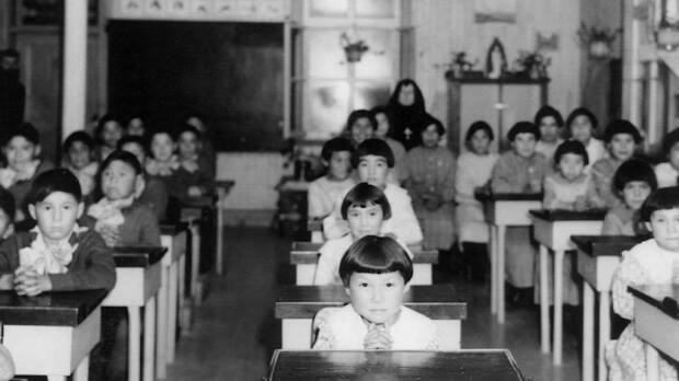 Children in class at the Catholic residential school in Fort George, Que. in 1939. On Monday, Cree leadership laid out seven demands to action, including an acknowledgement of genocide, intergenerational trauma and systemic racism, a provincial pedagogical review and more mental and land-based healing services, among others.  (Deschâtelets Archives - image credit)